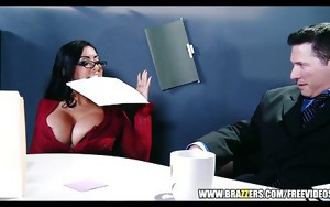 Big tit assistant Kiara Mia fucks her boss