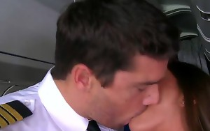 Sexy flight attendant Mischa Brooks is all alone with the horny pilot Ramon..