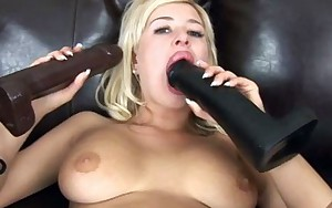 Busty blonde gapes her butt with a big marital-device