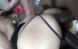DevilsGangbangs Hottie gags on 3 Big Black Cock