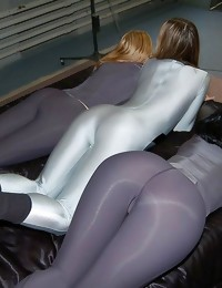 Hard body moist booties bending over and clad in shiny..
